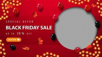 oferta especial, modelo de venda de sexta-feira negra com balões