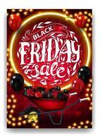 venda de sexta-feira negra, pôster vermelho de desconto vertical