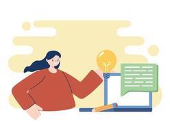 mulher com laptop e lâmpada