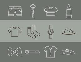 conjunto de ícones simples de roupas e acessórios unissex vetor