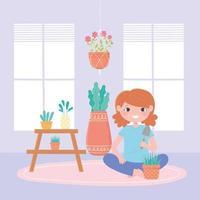 conceito de jardinagem doméstica com menina e plantas em vasos vetor