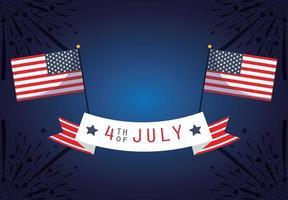 Banner de celebração de 4 de julho com fogos de artifício e bandeiras