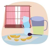 utensílios de cozinha e interiores vetor