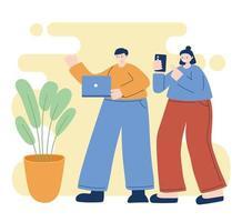 jovens usando dispositivos eletrônicos vetor