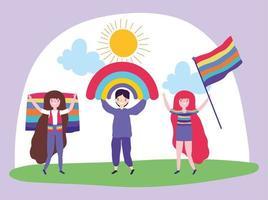 personagens de desenhos animados lgbtqi para a celebração do orgulho vetor