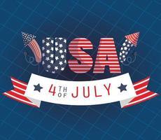 Banner de celebração de 4 de julho com fogos de artifício vetor