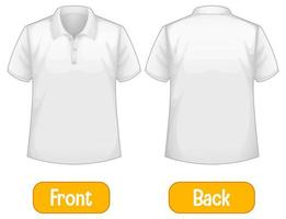 palavras opostas com frente e costas da camisa