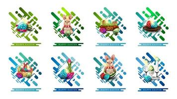 elementos da web em estilo abstrato com ícones de páscoa
