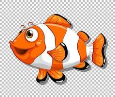 personagem de desenho animado de peixe-palhaço em fundo transparente vetor