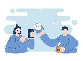 jovens com smartphone e envelope vetor