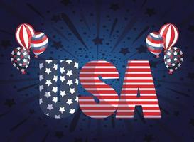 letras festivas dos EUA com balões