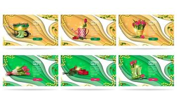 banners de venda de primavera com descontos verdes e laranja vetor