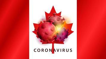 sinal do coronavírus covid-2019 na bandeira do Canadá
