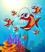 pescador pescando personagem de desenho animado na cena subaquática com corais