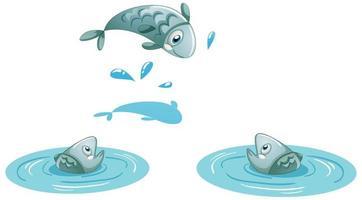 três peixes na água isolados no fundo branco vetor