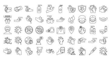 conjunto de ícones de prevenção de coronavírus