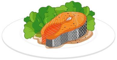 bife de salmão em um prato isolado no fundo branco