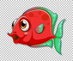 personagem de desenho animado de peixe exótico vermelho em fundo transparente vetor