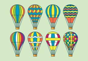 Ícones do vetor do balão de ar quente ajustados