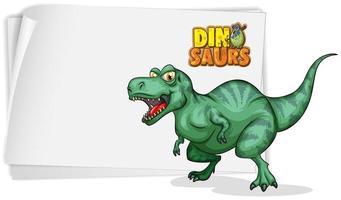 um modelo de banner de dinossauro em fundo branco vetor