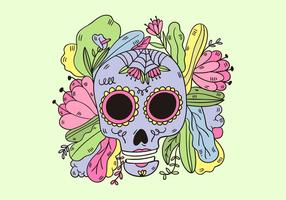 Crânio bonito do açúcar com folhas e flores vetor