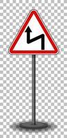 sinal de curvatura reversa à esquerda com suporte isolado em fundo transparente
