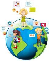 crianças com elementos de mídia social no globo terrestre vetor
