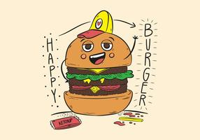 Burger engraçado do caráter com chapéu e Ketchup