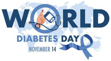 logotipo ou banner do dia mundial do diabetes com o globo no mapa