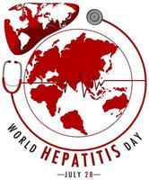 logotipo ou banner do dia mundial da hepatite com mapa-múndi no fígado vermelho
