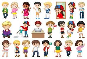 grande conjunto de crianças fazendo atividades diferentes vetor