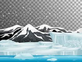 Tema da cena da natureza no inverno com fundo transparente vetor