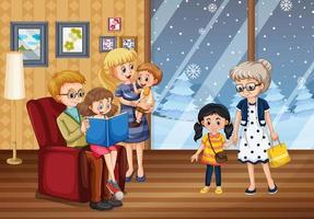 família feliz em casa no inverno vetor