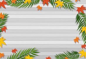 vista superior da mesa de madeira em branco com folhas em elementos de diferentes estações