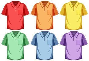 conjunto de camisa pólo de cor diferente vetor