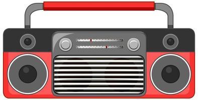 tocador de música de rádio vermelho isolado no fundo branco vetor