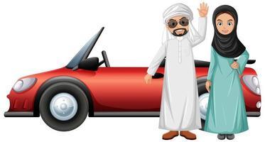 personagem de desenho animado de casal árabe vetor