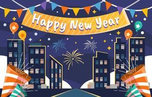 ano novo à noite cidade comemora fundo