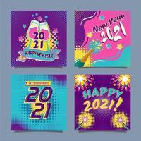 feliz ano novo 2021 cartões coloridos de pop art