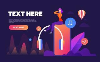 streaming de música online na internet vetor