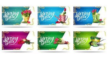 conjunto de banners de desconto de primavera isolados
