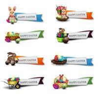 coleção de banners coloridos de saudação de páscoa