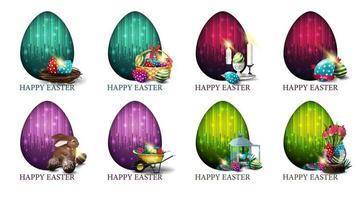 conjunto de cartões postais coloridos brilhantes com ícones de páscoa