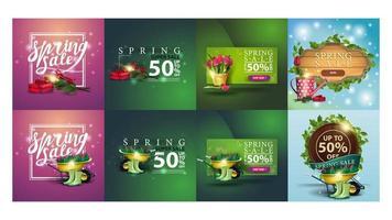 conjunto de banners de descontos de primavera