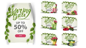conjunto de banners de desconto com ícones de primavera