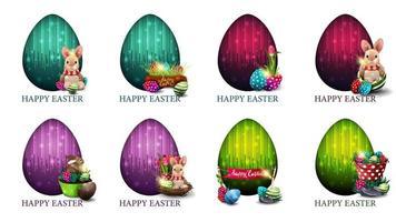 conjunto de cartões coloridos brilhantes com ícones de páscoa