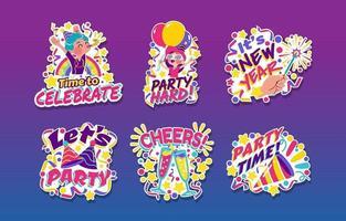 adesivos de desenhos animados de festa colorida e festiva