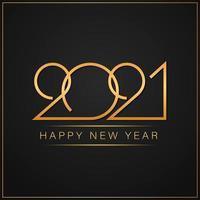 feliz novo texto dourado elegante de 2021 anos com luz vetor