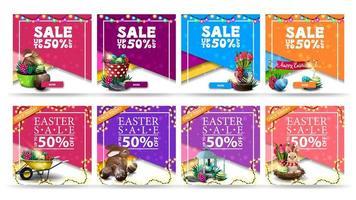 coleção de banners quadrados coloridos com desconto de páscoa