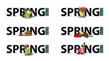 letras pretas com ícones de primavera em estilo moderno vetor